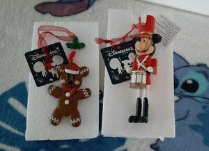 ❤Disneyland Paris Gingerbread Mickey & Nutcracker Mickey Hanging Ornaments