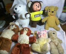 7 VINTAGE LOT OF BEARS, MUSICAL BEAR, ONE JOINTED, HERSHEY, COKE & WINNIE POOH