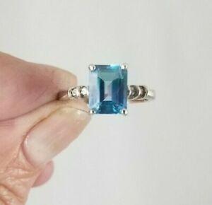 10K White Gold Blue Topaz Diamond Ring Free Sizing