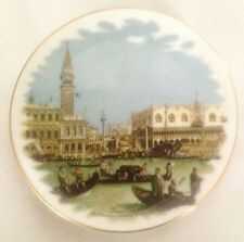 """Mini 3"""" Crown Plate England With Boats in Canel - China Marked"""