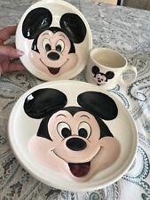Vintage 1970's Walt Disney Mickey Mouse 3D Ceramic Dinner Plate Bowl & Mug Set