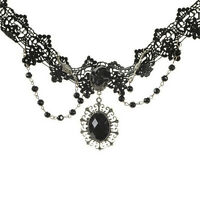 Fashion Lolita Gothic Black Rose Flower Lace Choker Collar Necklace BeadsChainFO