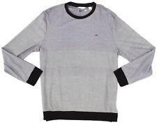 Calvin Klein Mens Black Size Large L Stripe Liquid Touch Longsleeve Tee $69 #229