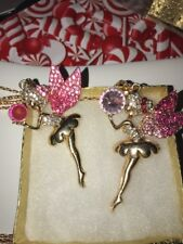 Betsey Johnson Necklace Pretty TINKER BELL  PINK  FAIRY PETER PAN Crystals Gold