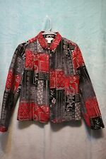 ⚜Woman's tapestry Zip down Jacket by Christopher & Banks size M~Black/red/silver