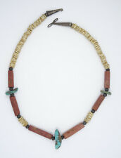 "And Shell Heishi Necklace 17"" Antique Santo Domingo Turquoise, Coral"