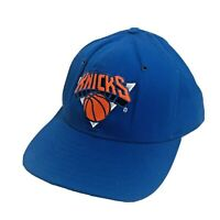 Vintage New York Knicks Hat Blue Snapback Cap 90s NBA Basketball AJD Made In USA
