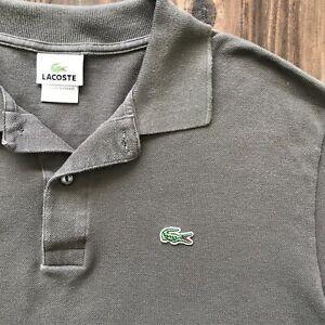 Lacoste Polo Shirt Short Sleeve Light Brown Size 6 XL Alligator Croc Logo