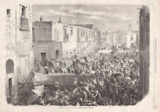 Gravure 1855 engraving, Mexico Roldan street and its wharf Mexique