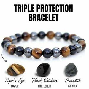 Unisex Obsidian Tiger Eye Hematite Bracelet Triple Protection Stone Bangle Gifts