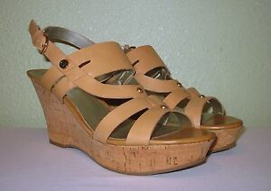WOMENS BEIGE NUDE LEATHER GUESS PLATFORMS WEDGES SANDALS US 9.5 EUR 39.5 40 40.5