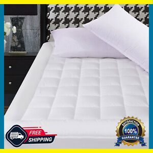 Mattress Pad Cover Breathable Pillow Top with Snow Down Fill Cool Topper Quilted