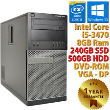 PC COMPUTER RICONDIZIONATO DELL CORE i5-3470 RAM 8GB SSD 240GB HDD 500GB WIN 10