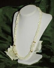 Vtg Carved Conch Shell Heishi Bead Torsade Multistrand Necklace Mother of Pearl