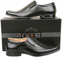 Mens New Black Slip On Leather Lined Formal Dress Shoes Size 6 7 8 9 10 11 12