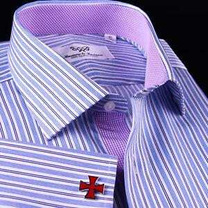 Navy Blue Stripes Business Dress Shirt Pink Gingham Check Inner Lining