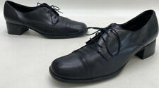 Munro American Womens Black Leather Block Heel Lace Up Shoes Size 9N