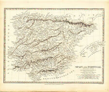1838 SDUK Map of SPAIN and PORTUGAL - Detailed - Outstanding