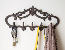 Cast Iron Wall Hanger Vintage Design with 5 Hooks - Keys Towels etc -Wall Mount