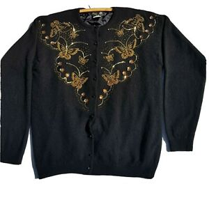Vintage DG Womens Cardigan Size XL Black Long Sleeve Hand Embroidered Angora
