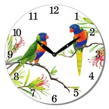 Wall Clock Rainbow Lorikeets on Branch Flowers Round Wooden 29cm