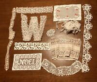Antique Victorian Lace All Hand Sewn 11 pieces Crafts Scrapbook Pillows Hats