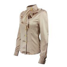 Shirt Womens Silky Winter Satin Dress Blouse Elegant Fashion Top Sz 12 Beige 10