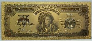 """$5 Indian Chief 1899 Silver Certificate Novelty 24K Gold Plated Note 6"""" LG313"""