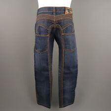 JUST CAVALLI Size 31 Indigo Contrast Stitch Denim Jeans