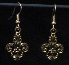Pewter Ornate Gold Finish Fleur de Lis Earrings