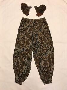 Mossy Oak Ghillie Camouflage Woodland Hunting Pants & Gloves Mens Large (J18)