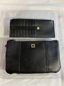 Lodis Black Italian Leather Wristlet & Credit Card Wallet Combo-Olivia New