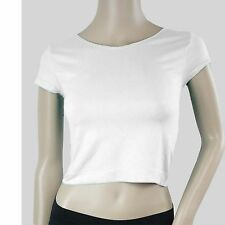 Solid Plain Round Scoop Neck Short Sleeve Basic Cropped Belly Tee Shirts Top