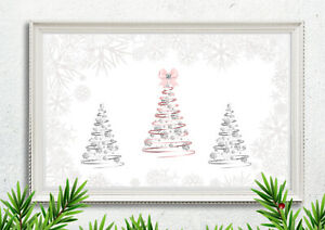 Glam Christmas Tree Picture Print Diamanté Pink Silver Xmas Wall Decor A4