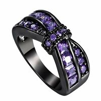 18K Purple Amethyst Criss Cross Wedding Band Ring Black Gold Filled Lady Jewelry