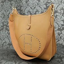 Rise-on Vintage HERMES Evelyne GM Togo Leather Brown Shoulder bag #130