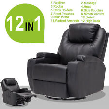 Electric Massage Lounge Chair Leather Swivel Heated Recliner Armchair Sofa Black