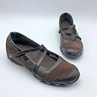 Skechers 21571 Women Brown Leather Mary Jane Flat Shoe Size 8.5 Pre Owned