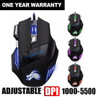 5500 DPI 7 Buttons LED RGB Optical USB Wired Gaming Mouse Mice For Pro Gamer