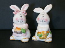 Ceramic Girl & Boy Easter Bunnies~Rabbits Figurines~Super Cute!