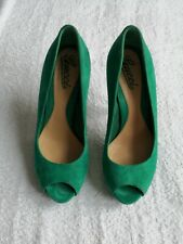 Gucci Platform High Heel Shoes Stiletto Pumps Green Suede Classic Italy