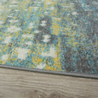 Teal Ochre Abstract Cheap Rugs UK Bedroom Living Room Rug for Home AFFORDABLE XL