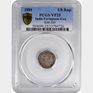 1881 India Portuguese Goa 1/8 Rupee. PCGS VF 25. KM-309