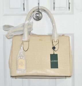 Lauren Ralph Lauren Lanesborough Double Zip Croc Emb Leather Shopper Bag Stone