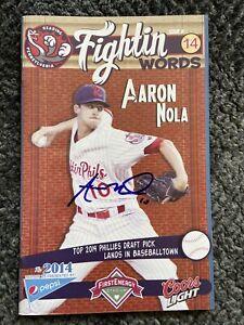 RARE! Phillies Aaron Nola ROOKIE AUTO SIGNED 2014 Reading Fightin Phils Program