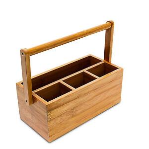 Tischorganizer tragbar 4 Fächer Bambus Schreibtischorganizer Ordnungssystem Holz