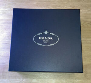 "Prada Big Shoe Box 13"" x 12"" w/ White Prada Bag and Tissue Paper- Beautiful Box!"