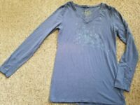 ECO YOGA Blue Long Sleeved Organic Cotton Top Ladies SMALL Sustainable Bamboo