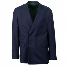 NWT CARUSO Navy Blue Wool Double Breasted Sport Coat 50/40 R Drop 7
