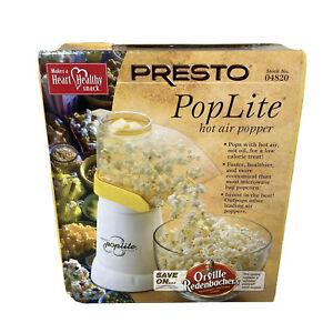 Presto Poplite Hot Air Popper Popcorn Maker Heart Healthy Snack White New No Oil